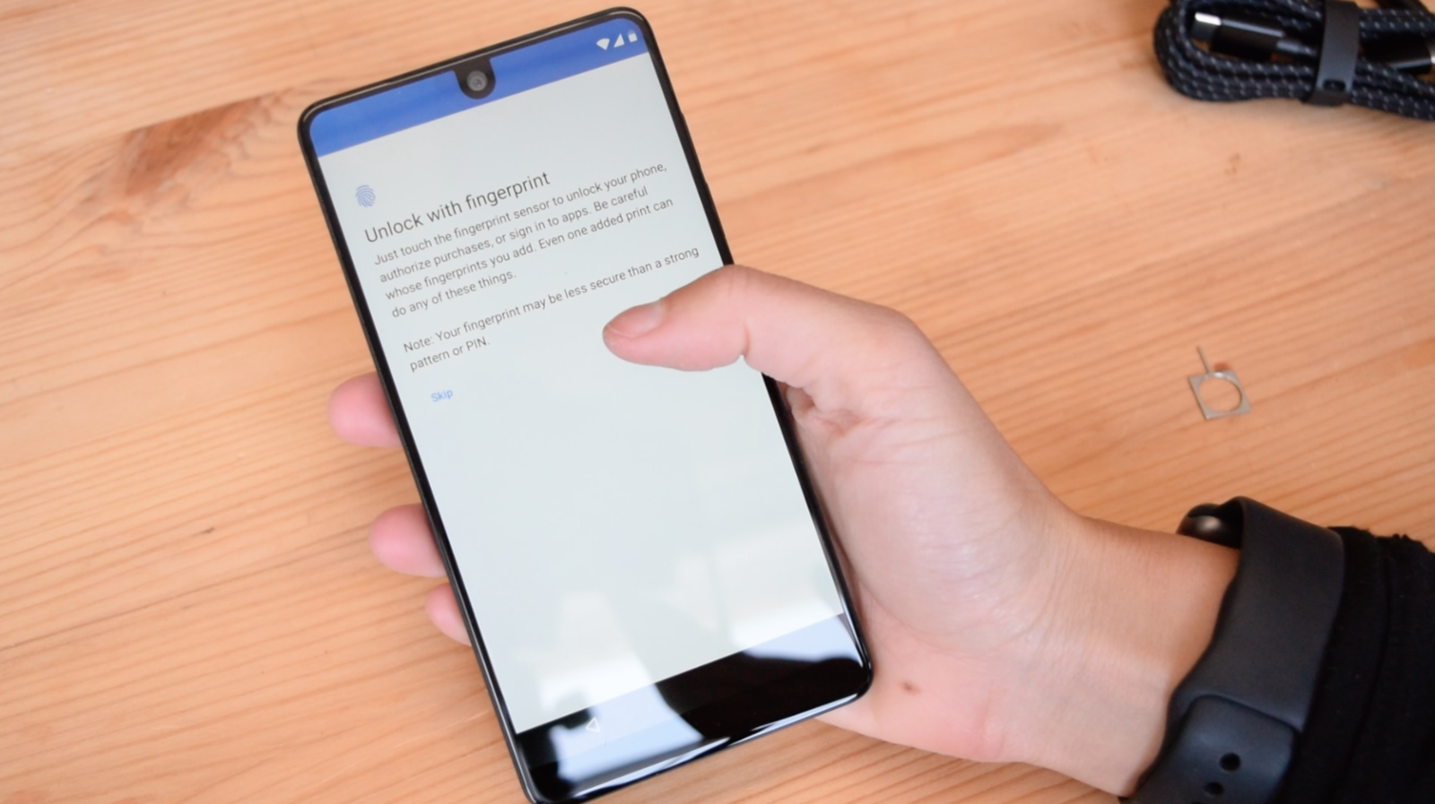 The Essential phone's screen is 5.71 inches diagonally. But because its display reaches so far to the edge, it feels like an XL phone in a non-XL package. Its power button is lower than the volume control (something I had to get used to), which makes it easier to reach. However, the fingerprint sensor is quite high, so when I was using the phone one-handed, I often had to precariously wiggle the phone to reach the bottom of the screen and access back/home buttons. The shape of the phone is also more brick-like, compared to the rounded curves of Samsung's flagships, and that made it more difficult for my thumb to reach the far corners of the display.