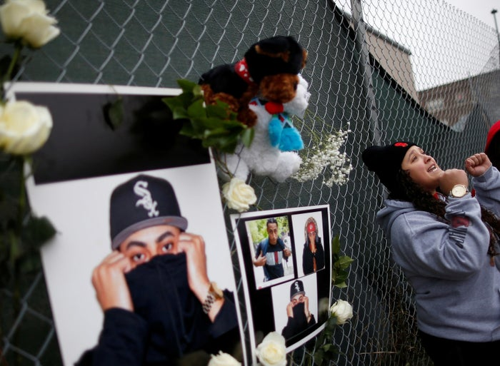 Chanel Crespo attends a vigil for her brother, John Ortiz, who was shot and killed while driving on the Eisenhower Expressway in Chicago, in December 2016.