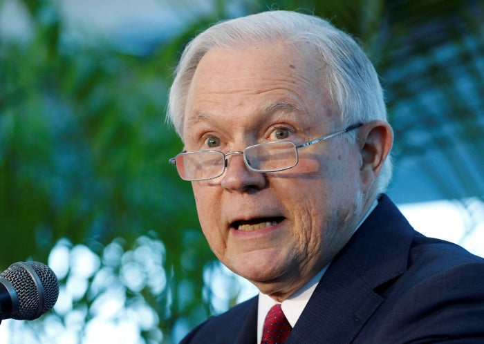 Attorney General Jeff Sessions speaks on what he claims is a growing trend of violent crime in sanctuary cities during an event in Miami on Aug. 16. There's little evidence to support his assertion.