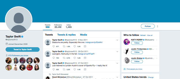 """So, today, on this holy three-year anniversary of Taylor Swift's """"Shake It Off,"""" something CRAZY is happening — Swift appears to be turning all of her social media platforms into BLANK SPACES. This is her Twitter right now:"""