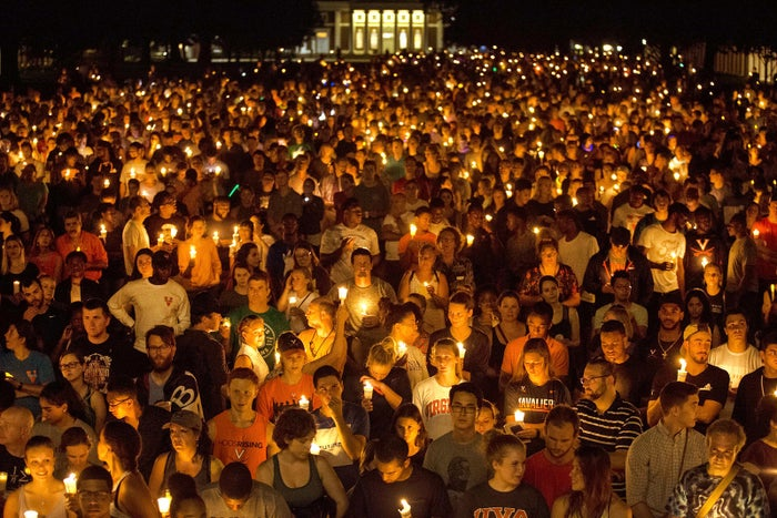 Thousands gather with candles at the University of Virginia in Charlottesville on Aug. 16. They marched on the same path that white supremacists had taken with torches the previous Friday.
