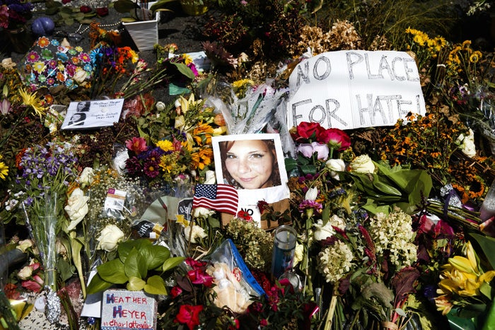 A photo of Heather Heyer, who was killed during the rally, at a memorial. Her life was celebrated in Charlottesville on Aug. 16.