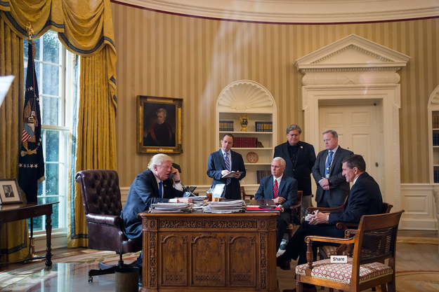 This is a photo of President Donald Trump speaking on the phone with Russian President Vladimir Putin on January 28. He's joined in the Oval Office by Vice President Pence and four other dudes who, as of Friday August 18, have all been dismissed from their roles in the Trump administration.
