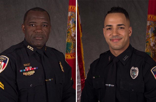 Kissimmee police officers Sam Howard, left, and Matthew Baxter.