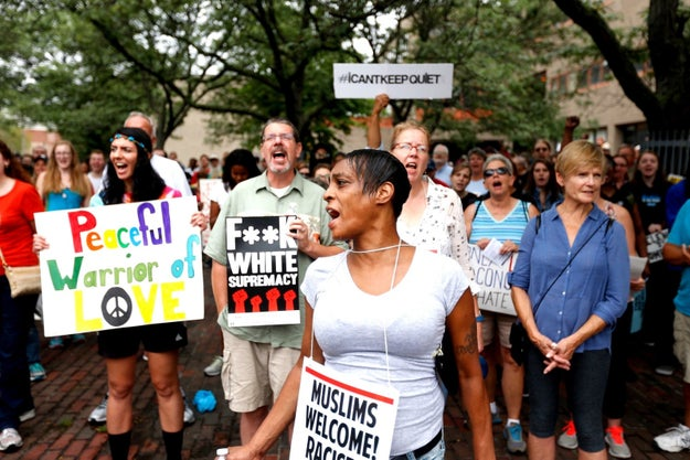 The protest was held one week after a violent white supremacist rally in Charlottesville, Virginia, in which an anti-racist demonstrator was killed.