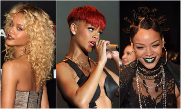 So, we're all familiar with Rihanna, queen of the hair switch-up, right? Here's just a taste of the iconic ~lewks~ she's served throughout the years.