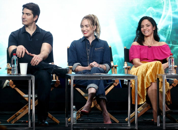 From left: Legends of Tomorrow stars Brandon Routh, Caity Lotz, and Tala Ashe at the Television Critics Association summer press tour on Aug. 2.