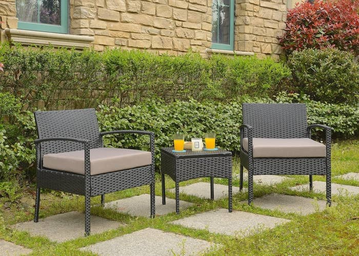 """Promising review: """"Got this furniture on sale and it didn't disappoint. Just as described. It is sturdy and not too light to be left outside. Had to assemble it but it wasn't too hard. Looks great on my patio."""" –MistyGet it from Wayfair for $124.99 (on sale from $249)."""