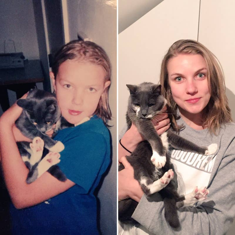 """Here's me and my kitty Pele, 15 years apart."" – Jemima Skelley"
