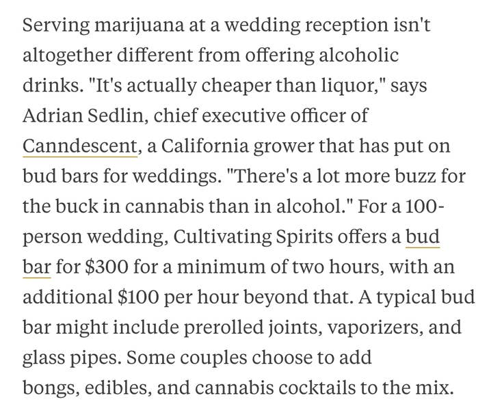 Couples are having open marijuana bars at their weddings and more serious and interesting note bloomberg says many people are actually saving money by choosing to have weed instead of alcohol at their open bar solutioingenieria Gallery