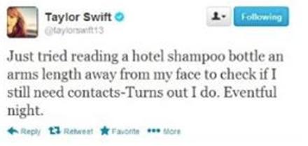 That time she was reading a hotel shampoo bottle.