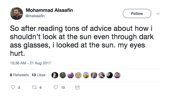 Chances are you read the warnings, too. Or maybe you had gotten a text from your mom reminding you not to look directly at the sun during the eclipse without protecting your eyes.