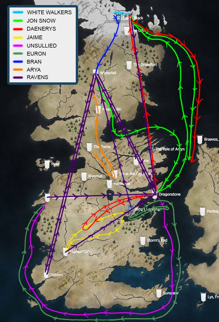I made a map of everyones journey on game of thrones and it so to get a better idea of just how fast everyoneeverything is moving i decided to make a map of all the main characters whove actually traveled gumiabroncs Gallery