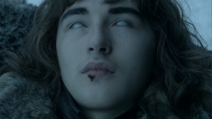 • Jojen, his friend, dies north of the Wall.• Hodor, who carried Bran around like a horse, dies.• Bran's dog, Summer the direwolf, dies.• And his spine snaps as he falls out a window as he tries to use it climbing a tower.