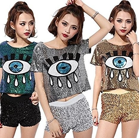 """Get it from Amazon for $27.99. One size. Available in three colors.Promising review: """"Super fun shirt. Looks exactly as pictured. Sequins are attached securely and don't fall off the shirt."""" —T. Kraft"""