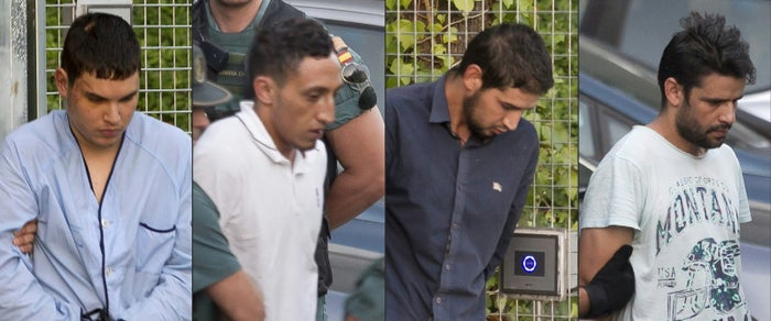The four surviving members of the cell accused of plotting last week's terror attacks near Barcelona were in court on Tuesday.