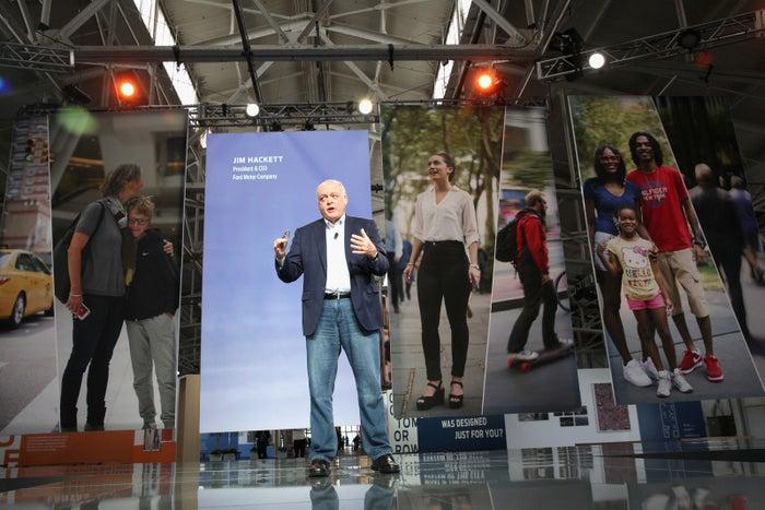 Ford CEO Jim Hackett speaks in San Francisco