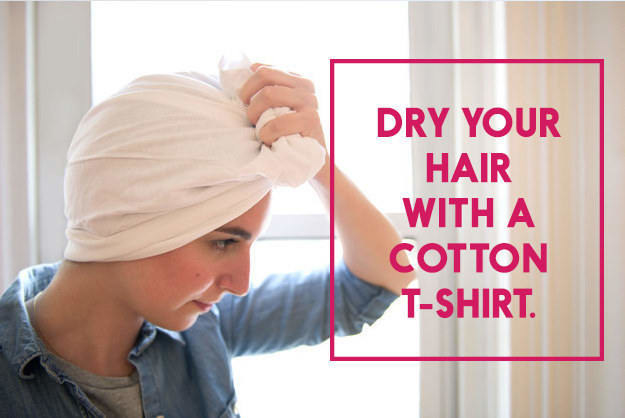 Tees are way more absorbent and will get your hair dry a lot faster!