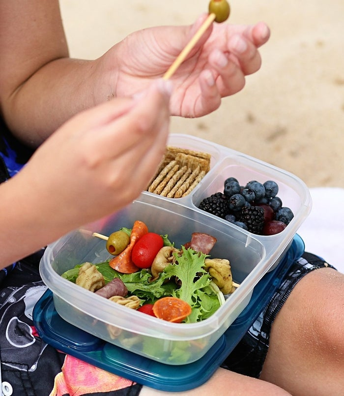 """With four in a pack, other family members can get good use out of them, too!Promising Review: """"Love how easy these make packing healthy school lunches. In order to encourage more fresh eating, I designate each of the two smaller portions for fruits/veggies, and have my child help pack her favorite foods."""" —Kindle CustomerGet a four-pack from Amazon for $13.95."""