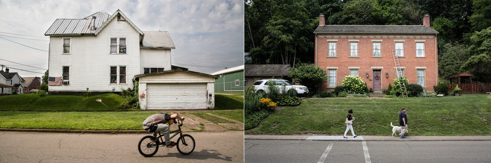 Left: A young man rides his bike past a house in Coshocton. Right: A restored house in Roscoe Village.