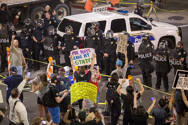 Protesters Stake Out Trump In Arizona For First Rally Since Charlottesville Violence