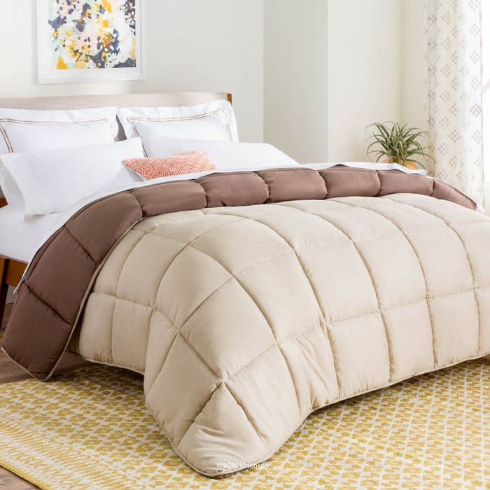 Brown comforter on mattress in bedroom