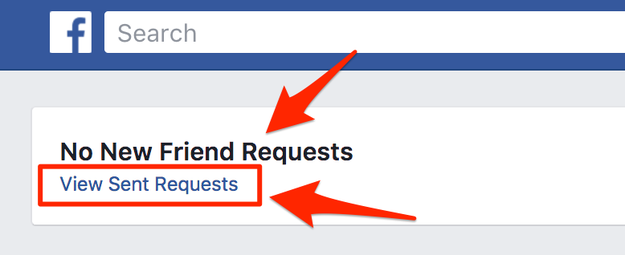 "Then click on ""View Sent Requests"" — this is the list of people who have left you pending."