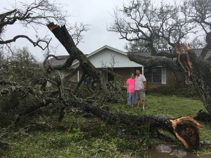 Rhonda and Randy Johnson outside their home in Rockport, Texas.