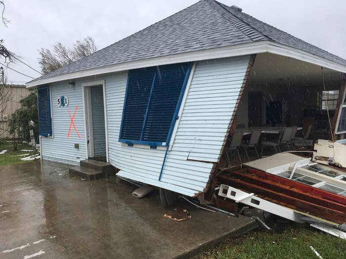 One of hundreds of buildings destroyed by Hurricane Harvey in Rockport, Texas.
