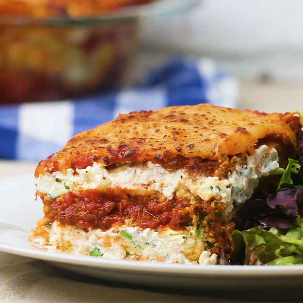 12 servingsINGREDIENTS455 g (1 lb) lasagne noodle, cooked mozzarella cheese, to taste parmesan cheese, to tasteBolognese2 tablespoons olive oil2 tablespoons butter1  onion, minced60 g (1/2 cup) carrot, minced110 g (1/2 cup) celery, minced455 g (1 lb) ground beef455 g (1 lb) ground pork110 g (1/2 cup) tomato paste salt, to taste pepper, to taste470 mL (2 cups) red wine800 g (4 cups) canned diced tomatoRicotta Herb Mixture425 g (15 oz) ricotta cheese20 g (1/2 cup) fresh basil, chopped100 g (1 cup) shredded parmesan cheese20 g (1/2 cup)  fresh parsley, chopped1  egg salt, to taste pepper, to tastePREPARATION1. Preheat oven to 400°F (200°C).2. Add olive oil and butter to a skillet on medium-high heat. Once warmed, add the carrot, onion, celery, and garlic. Cook, stirring occasionally, until golden brown.3. Once the vegetables have caramelized, add in the ground beef, pork, salt, pepper, and tomato paste. Stir to combine, breaking up the pieces of meat, until the meat has browned.4. Once the sauce is dark brown and starting to stick slightly to the bottom of the pan, add the red wine. Scrape the bottom of the pan with a wooden spoon to release all the cooked brown bits.5. Once the wine comes to a simmer, add in the diced canned tomatoes, and stir to combine.6. Bring the sauce to a simmer and cook for at least 30 minutes (the longer the better!) and then set aside.7. In a large bowl, mix together the ricotta, basil, Parmesan, parsley, egg, salt, and pepper. Set aside.8. In a 9 x13-inch (23x33 cm) glass baking pan, add a layer of bolognese to the bottom. Top with noodles, then spread a layer of ricotta.9. Repeat with another layer of bolognese, noodles, ricotta, noodles, bolognese, extra mozzarella, and Parmesan.10. Cover the baking dish with foil and bake for 25 minutes.11. Remove the foil and bake again for an additional 15 minutes until the cheese on top has browned and the bolognese is bubbling.12. Slice and serve.13. Enjoy!Inspired by:https://www.cooksillustrated.com/recipes/1629-lasagna-bolognese-simplified?incode=MCSCD00L0&ref=new_search_experience_1