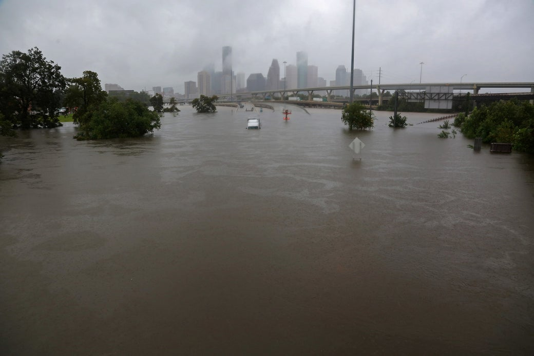 Interstate highway 45 is submerged from the effects of Hurricane Harvey seen during widespread flooding in Houston, Texas, August 27, 2017.