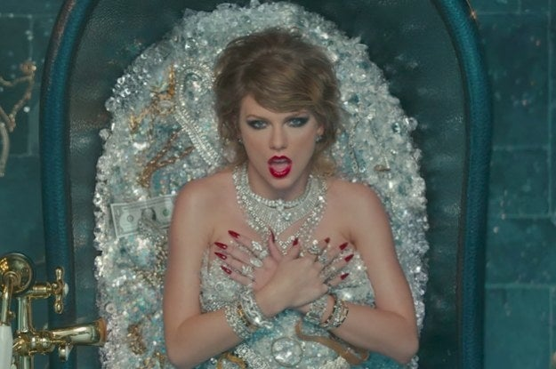 In the Joseph Kahn–directed clip, Swift is seen lying in a bathtub full of glittering jewels (plus a single dollar bill, which may be a reference to the symbolic $1 she was awarded in her groping trial).