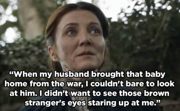 Интересно, что она упоминает конкретно карие глаза малыша Джона, который впоследствии сыграл большую роль в свидетельствуют о его матери.