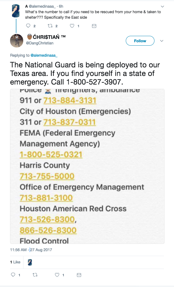 People on Twitter and Facebook are sharing a phone number and saying it can be used by Texas residents who are facing an emergency, but the 1-800 number is actually for an insurance company. The phone number being shared above goes to Foremost Insurance Group's claim service for all products except auto insurance. It's not clear how the number started being shared. Other numbers listed are correct but should be only used by people with life-threatening injuries.