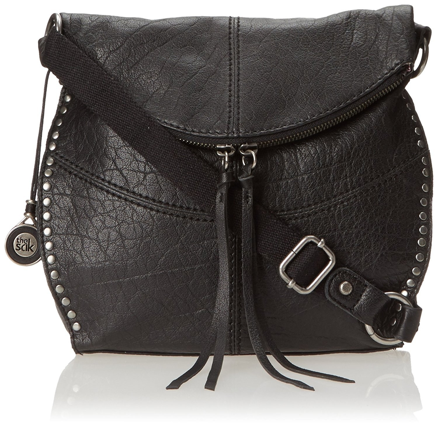 d2d694185e17 A crossbody with silver hardware to add some edginess to an ensemble.