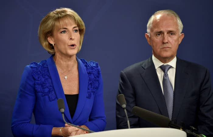 Employment minister Michaelia Cash and prime minister Malcolm Turnbull.