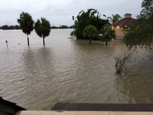 Flooding along the southeast coast of Texas in Harris County following Tropical Storm Harvey.