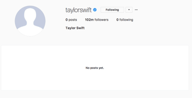 But on Aug. 18, her Twitter, Tumblr, Facebook, and Instagram were all wiped away. She unfollowed people from most of her accounts, deleted her archives, and even got rid of her profile pictures and background images.