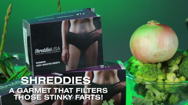 "Folks, meet Shreddies: a ""flatulence filtering underwear."""