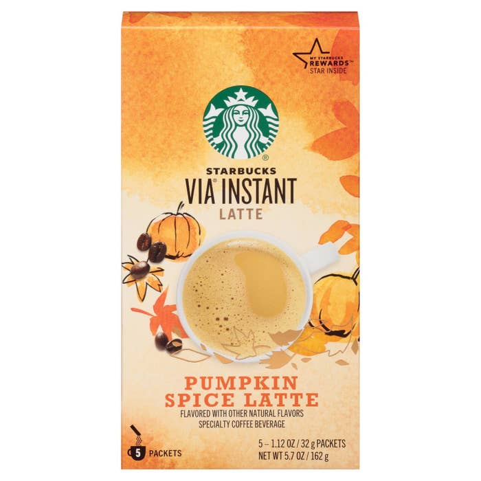 This is ~major~ news for fall-flavored coffee drink fans. Sadly, the Pumpkin Spice Latte bottle and Pumpkin Spice Frappuccino are only available in store.But you can order a five-pack of Pumpkin Spice Latte Vias from Target for $5.99.Each Via packet calls for 8 oz. of hot milk. A typical Starbucks tall drink is 12 oz. and, (according to FastFoodMenuPrices.com), a tall PSL will cost you $4.25. So yeah, this is a good deal if you know you're going to buy lots of PSLs while they're in season. (Tbh, you could probably just use hot water instead, which costs less than milk.)