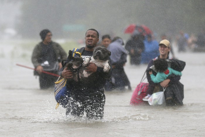 Isiah Courtney carries his dog Bruce through floodwaters from Tropical Storm Harvey in Houston.