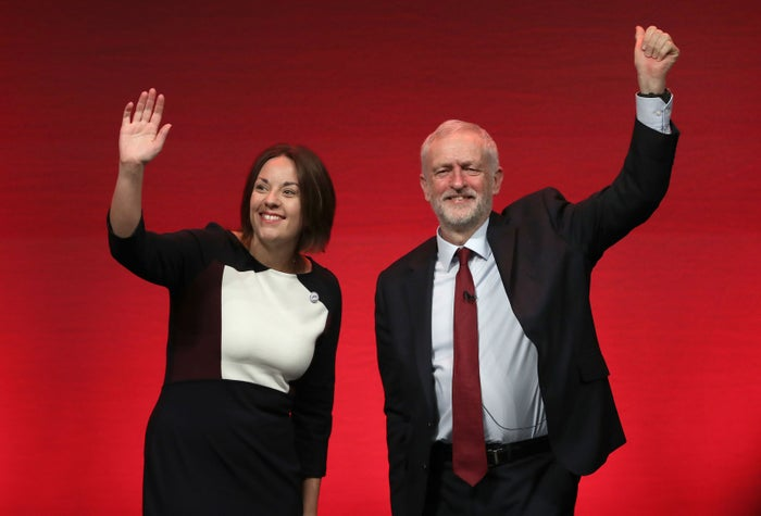 Scottish Labourparty leader Kezia Dugdale and UK Labour leader Jeremy Corbyn on stage during the Scottish Labour Party Conference.