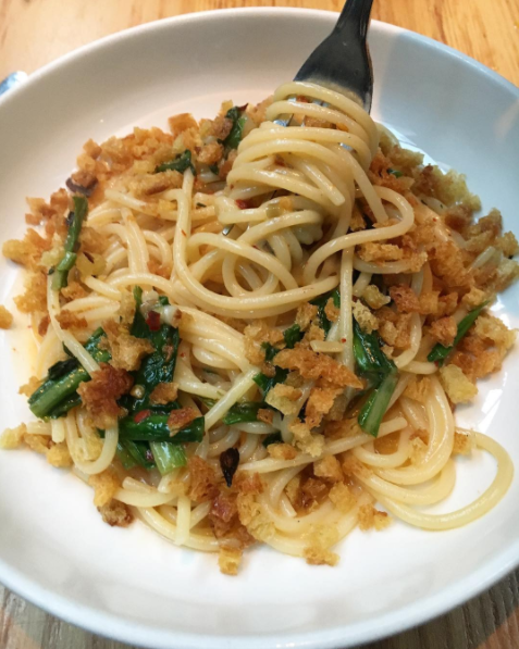 It's easy to overlook the spaghetti at this West Village gem in favor of the sexier pasta on the menu. And while you won't go wrong ordering almost anything, the simple spaghetti--garnished with garlic scapes, chilies, and parmesan--is a take on the classic like you've never had before.