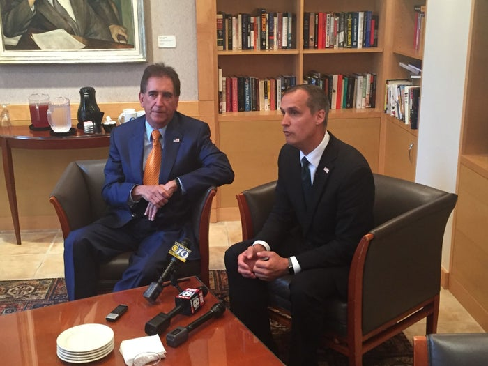 US Rep. Jim Renacci (left) joined Corey Lewandowski for a meeting with reporters in Cleveland on Thursday.