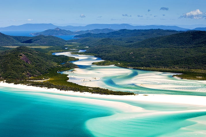 Whitehaven Beach is consistently near the top of lists featuring the best beaches in the country. The sand is made of the purest silica — a substance that does not retain heat — in the world. This means that even on a hot day you can walk barefoot on the beach!