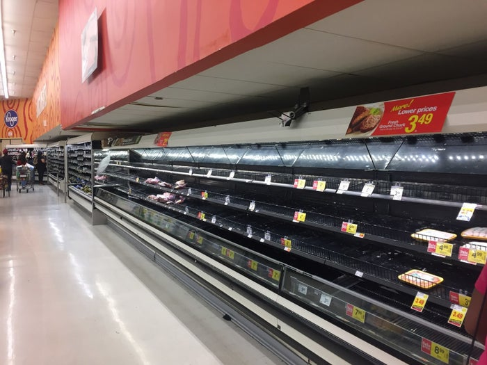 Empty shelves in a Houston Kroger on Tuesday.