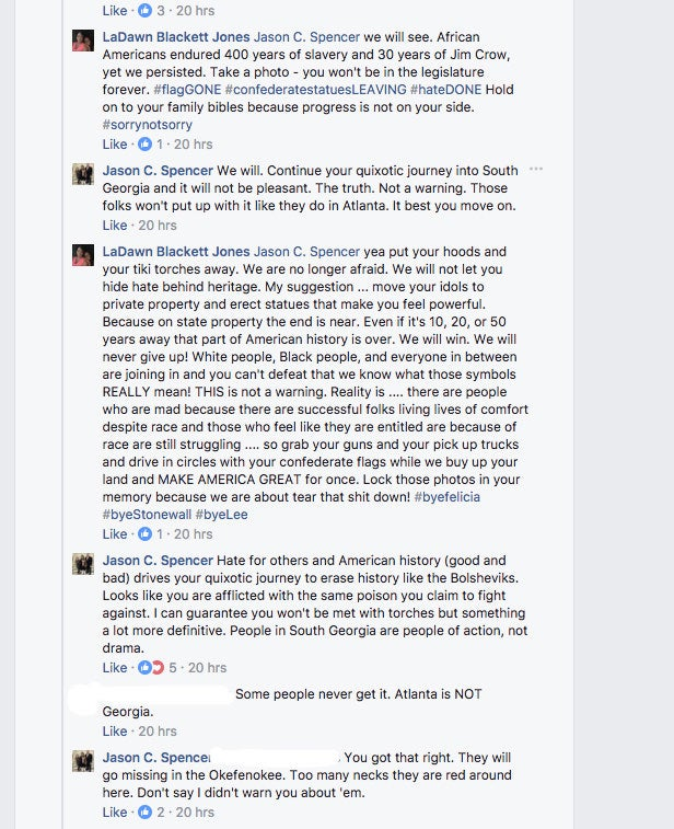 """""""You got that right. They will go missing in the Okefenokee. Too many necks they are red around here. Don't say I didn't warn you about them,"""" Spencer said in a separate response to a man's comment that Atlanta is not representative of Georgia. Spencer's post has since been deleted. BuzzFeed News has reached out to Spencer for comment."""