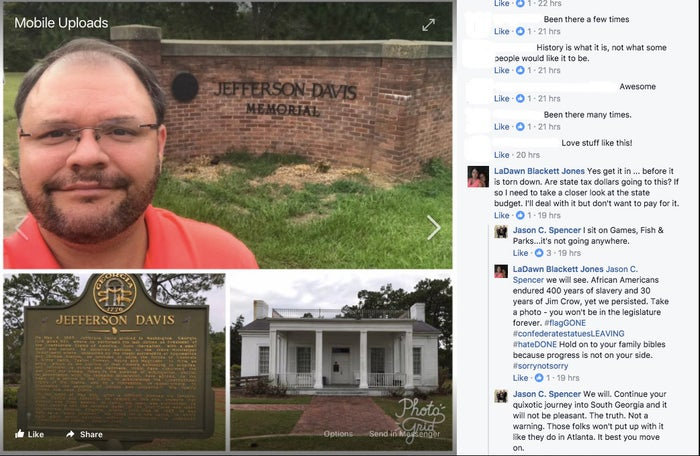 State Rep. Jason Spencer posted the photos on his personal Facebook page, as a nationwide debate over Confederate statues and memorials continues. The issue has come to the forefront after a violent white supremacist rally over a statue of Robert E. Lee took place in Charlottesville, Virginia, earlier this month.