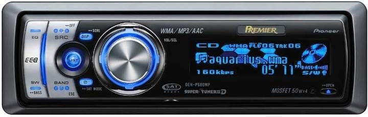 A car stereo player from the early 2000s that has blue computer graphics on it