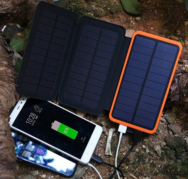 """Promising Review: """"I have one of these for when I go camping. They work great. It took about an hour to charge my phone from 30 percent to fully charged on a sunny day. I was camping with my dad and when he saw how well it worked, he got one for himself. It comes in a nice slim case. I would say it's about the size of an iPad and it has nice little pockets to keep wires. It fit wonderfully in my backpack and doesn't weigh a lot!"""" —Alyssa Get it from Amazon for $26.99 (available in seven colors."""